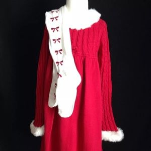 Gymboree Red Sweater Dress faux fur trim Tights 5T
